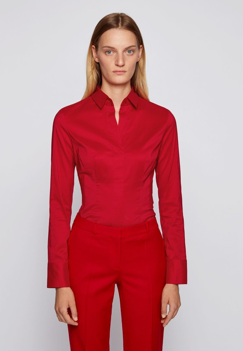 BOSS - BASHINA - Button-down blouse - red
