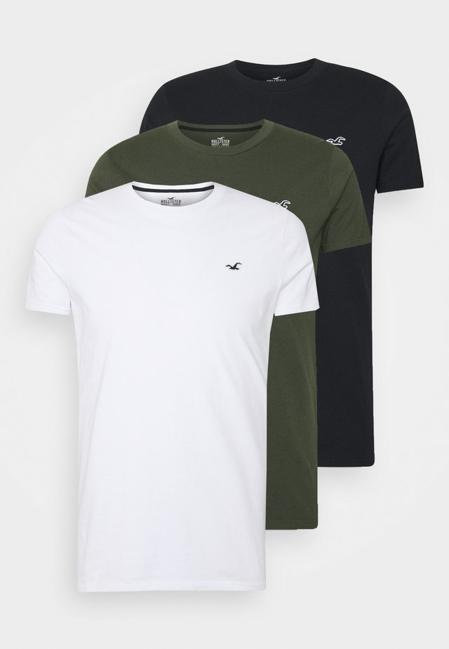 3-PACK - T-shirts - white/olive/black