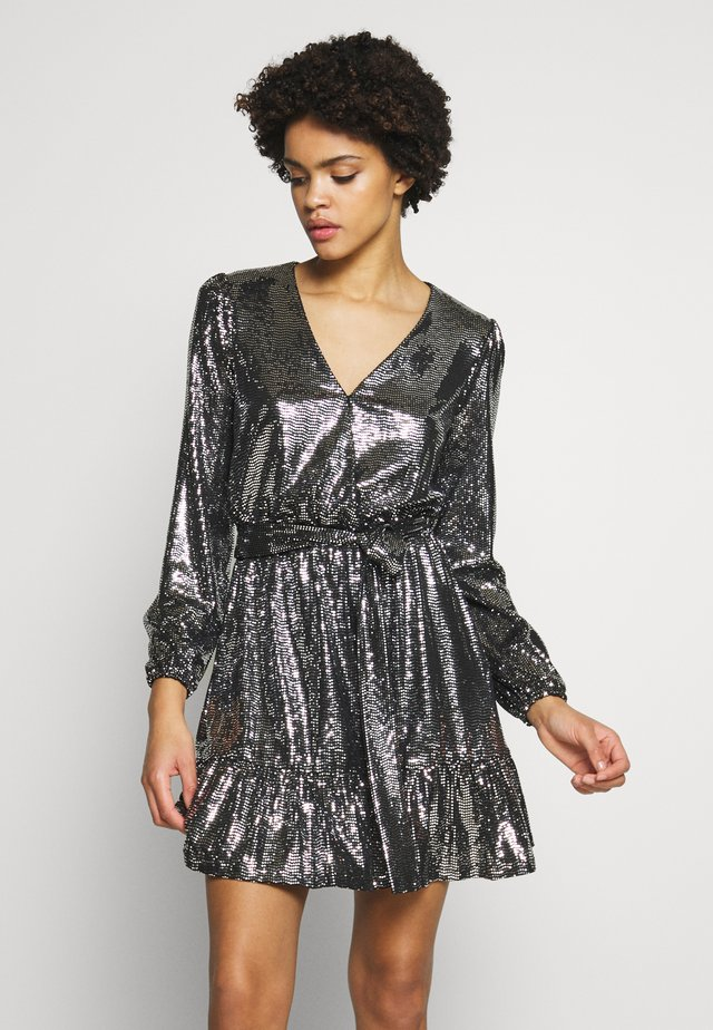 MIRROR DOT CROSS OVER DRESS  - Juhlamekko - black/silver