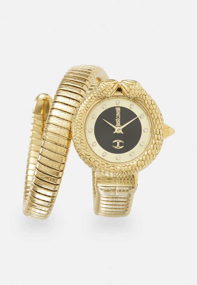 GOLD & BLACK SINGLE WRAP WATCH - Hodinky - black sunray (inner)/ champagne sunray (outer)