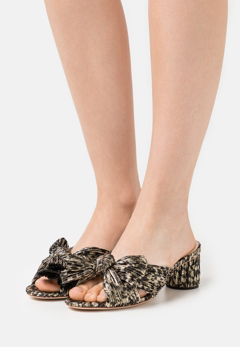 Loeffler Randall - EMILIA PLEATED KNOT MULE - Pantofle na podpatku - black/champagne