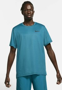 Nike Performance - DRY  - T-shirt basique - obsidian/green abyss/heather/black - 0