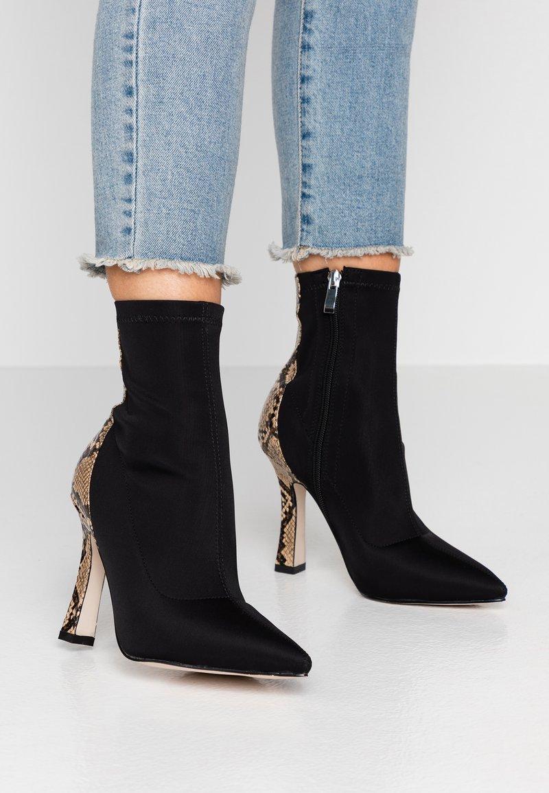 RAID - OLINIA - High heeled ankle boots - black/beige