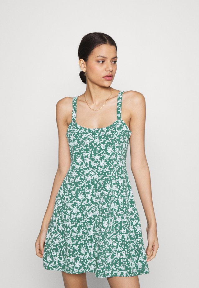 TURNER STRAPPY MINI DRESS - Jerseykjole - heritage green