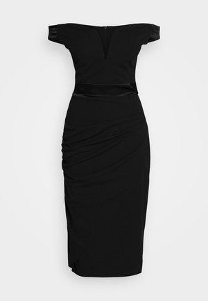 OFF THE SHOULDER MIDI DRESS - Pouzdrové šaty - black