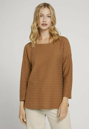 LOOSE STRUCTURED STRIPE TEE - Long sleeved top - amber brown structure stripe