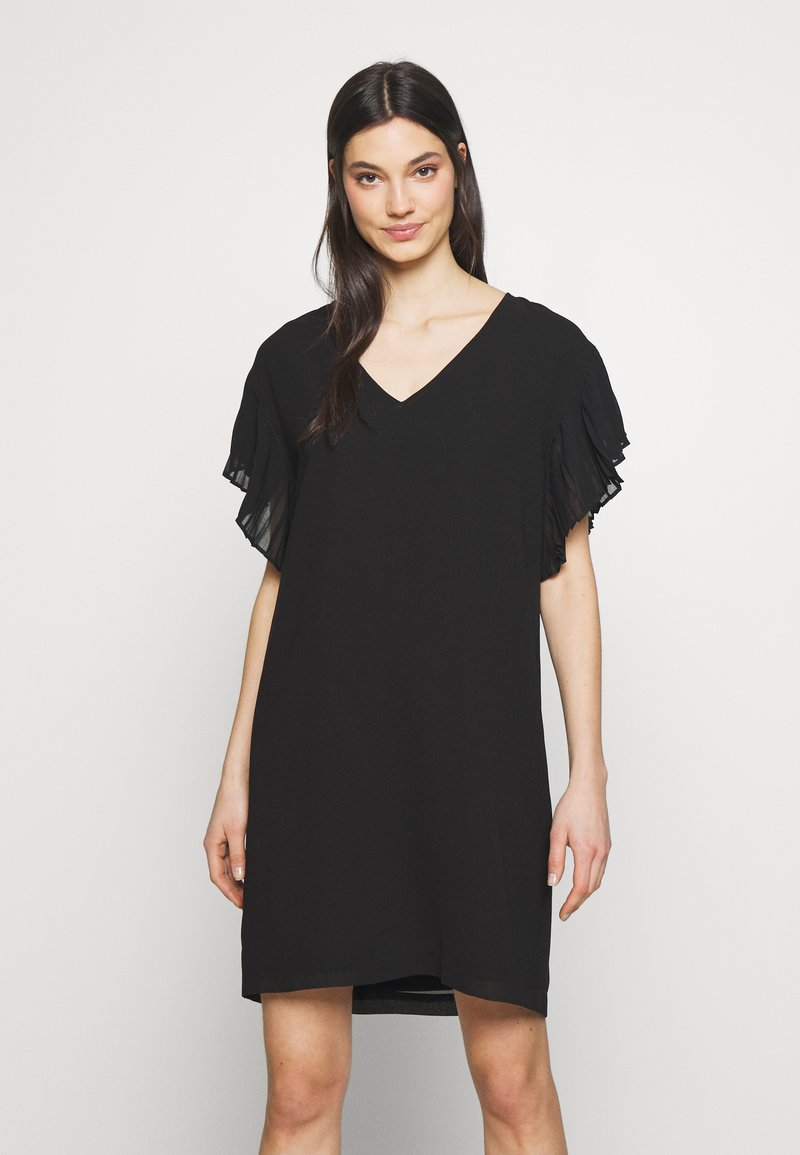 DKNY - VNECK DRESS RUFFLE  - Kjole - black