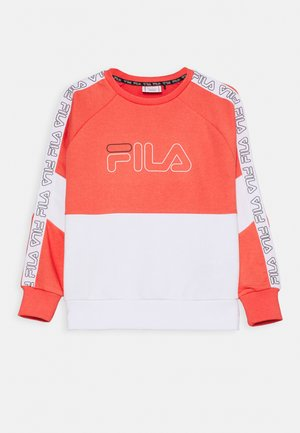 JUWEL TAPED CREW - Sweatshirts - calypso coral/bright white