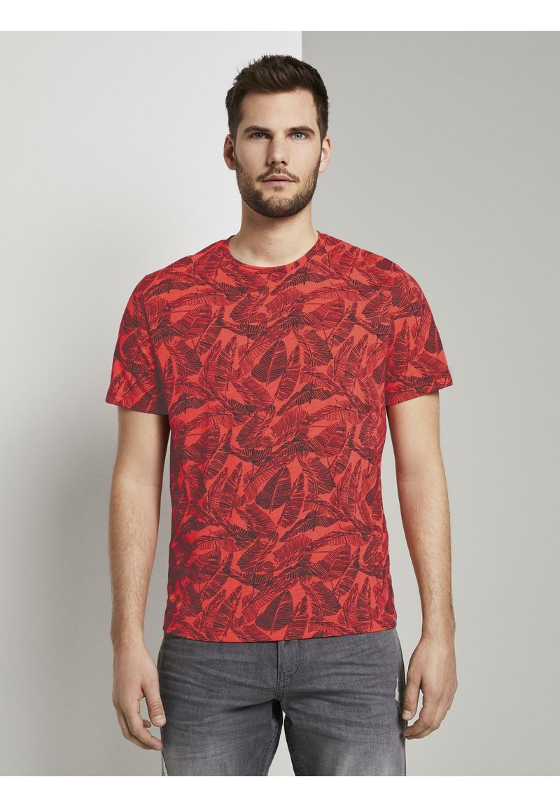 TOM TAILOR - Print T-shirt - pink grey leaf design