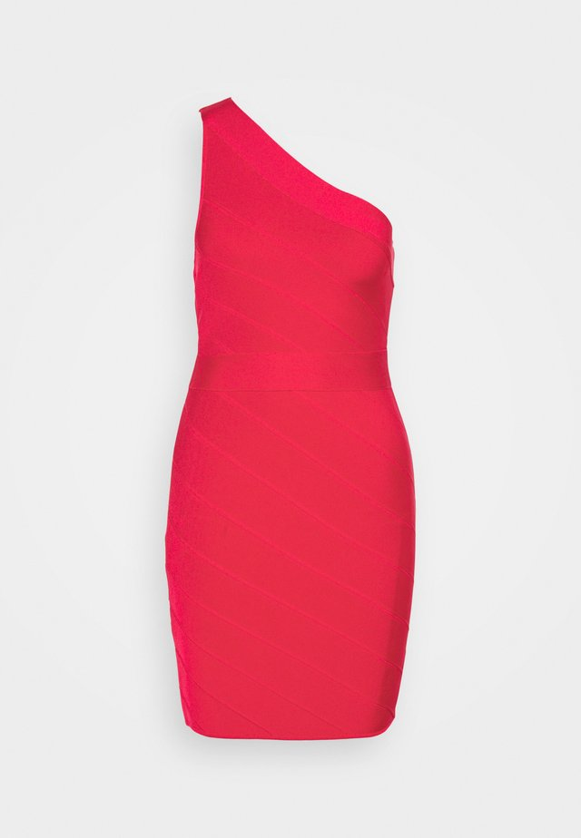 ONE SHOULDER DRESS - Pouzdrové šaty - rio red