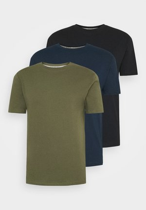 MULTI TEE AUTUMN 3 PACK - Basic T-shirt - oliv/dark blue/black