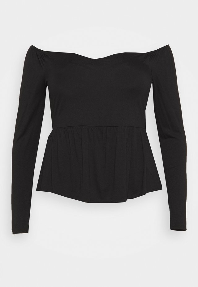 SCUBA PEPLUM - Long sleeved top - black