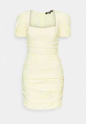 RUCHED PUFF SLEEVE MINI DRESS - Robe fourreau - yellow