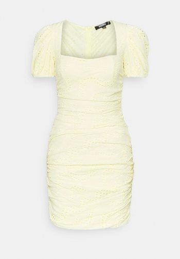 RUCHED PUFF SLEEVE MINI DRESS - Etuikjole - yellow