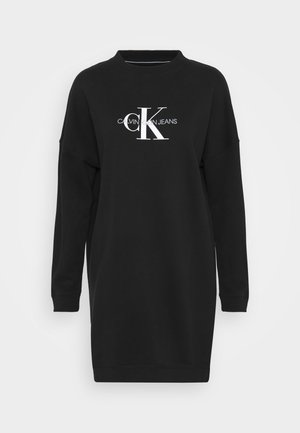 MONOGRAM CREWNECK DRESS - Korte jurk - black
