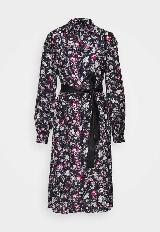 ORCHID PRINT DRESS - Shirt dress - black