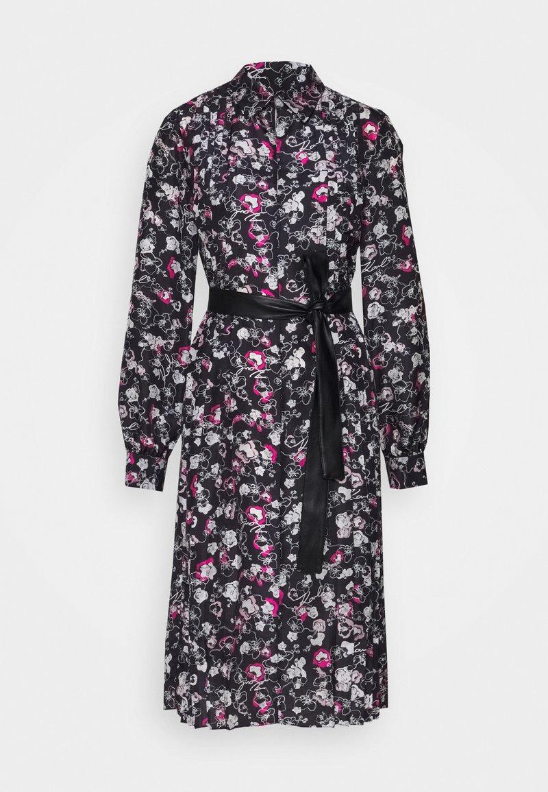 KARL LAGERFELD - ORCHID PRINT DRESS - Shirt dress - black