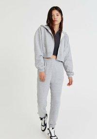 PULL&BEAR - BASIC - Zip-up sweatshirt - mottled grey - 1