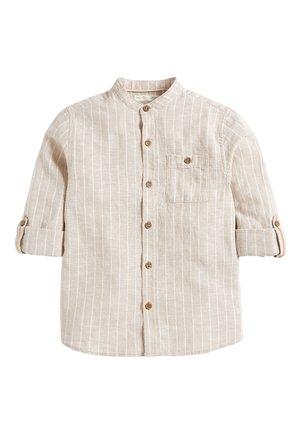 NEUTRAL STRIPE ROLL SLEEVE GRANDAD - Shirt - beige