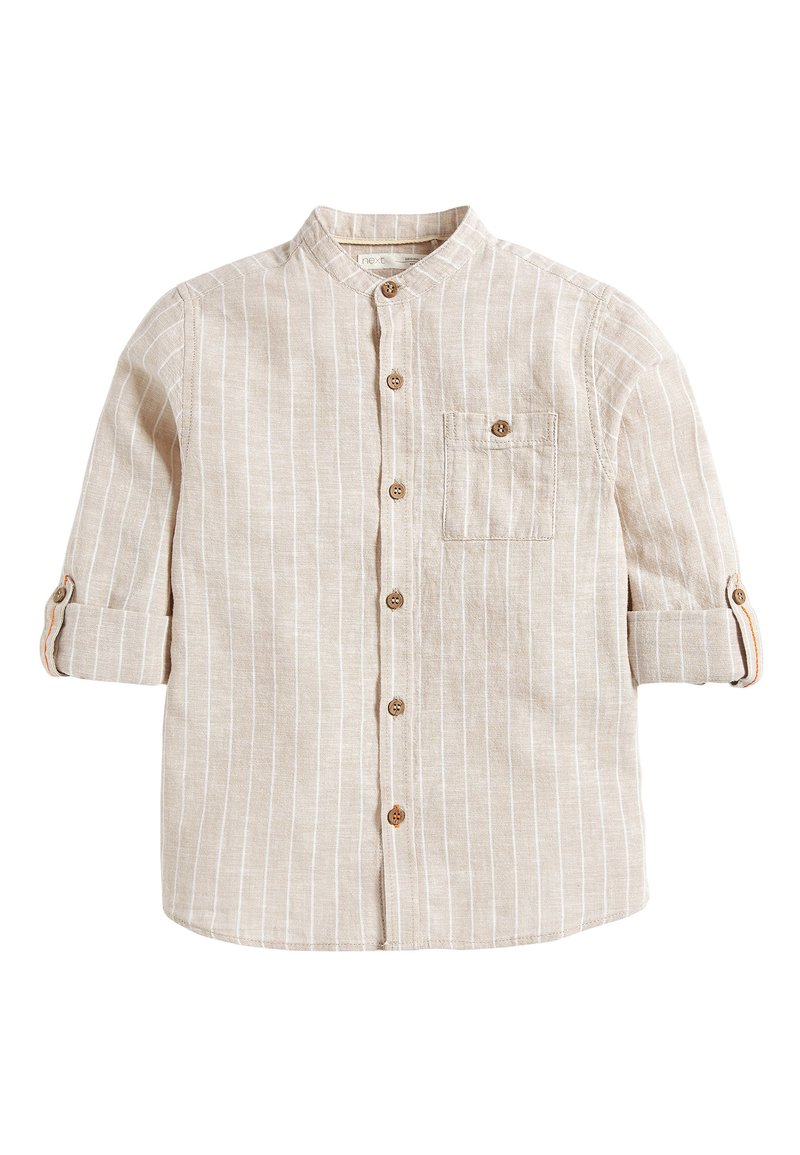Next - NEUTRAL STRIPE ROLL SLEEVE GRANDAD - Shirt - beige