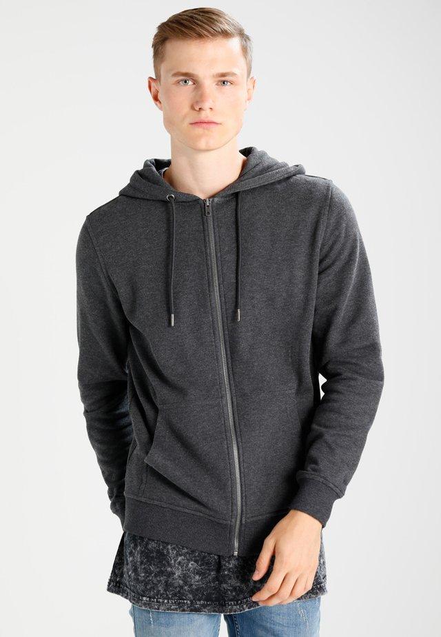BASIC - Zip-up hoodie - charcoal