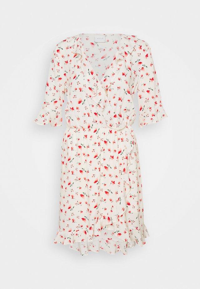 VILANA DITSY FLOUNCE WRAP DRESS - Sukienka letnia - white/red