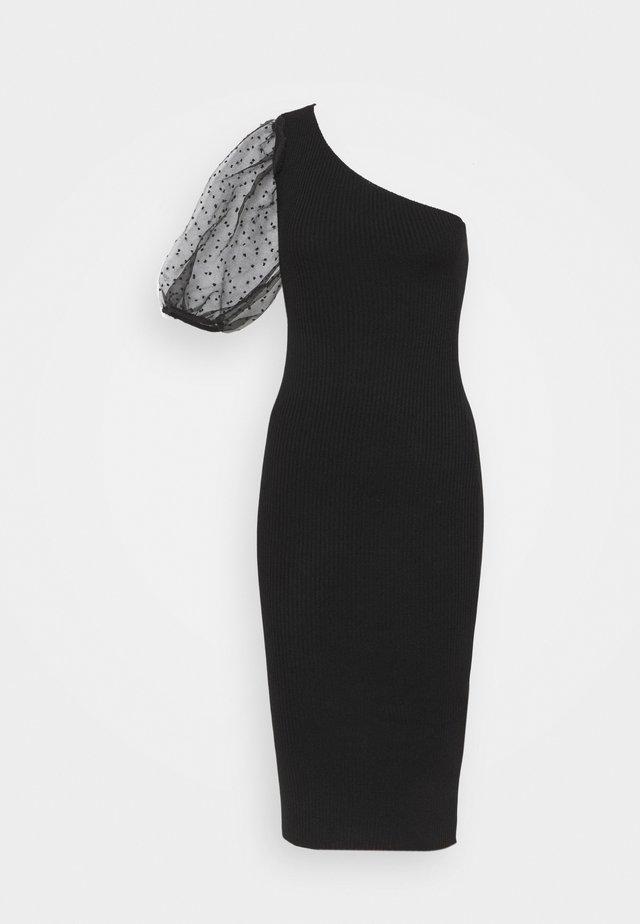 SPOT SLEEVE DRESS - Robe fourreau - black