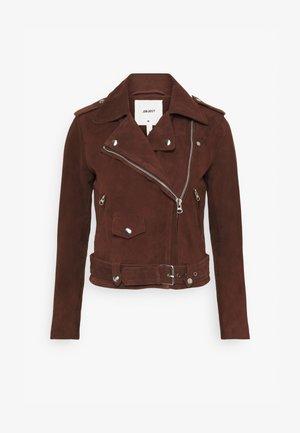 OBJNANDITA JACKET SEASONAL  - Leather jacket - chicory coffee