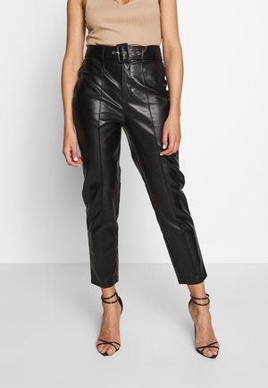 BELTED SEAM DETAIL CIGARETTE TROUSER - Pantalones - black