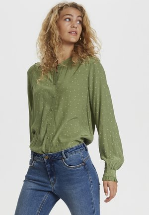 Blouse - oil green dot print