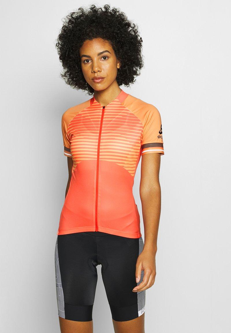 ODLO - STAND UP COLLAR FULL ZIP ZEROWEIGHT - Print T-shirt - hot coral/papaya