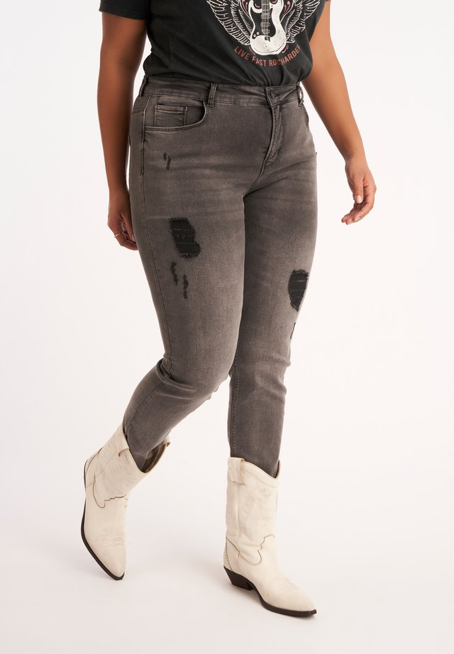 WITH FINISHING - Slim fit jeans - grey
