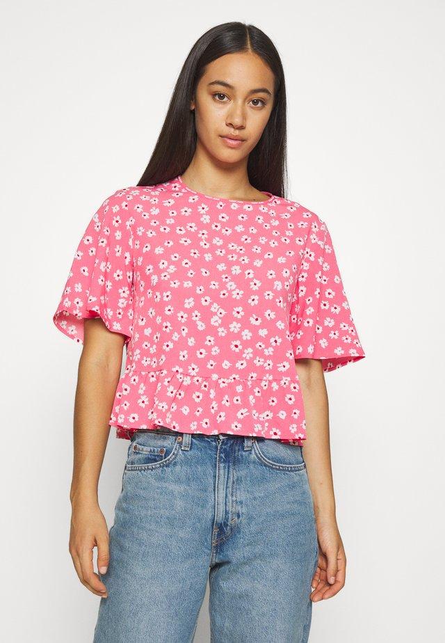 PRINTED PEPLUM - Blouse - glamour pink