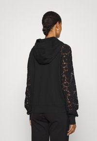 TWINSET - FELPA IN PUNTO MILANO E MACRAME - Zip-up sweatshirt - nero - 2
