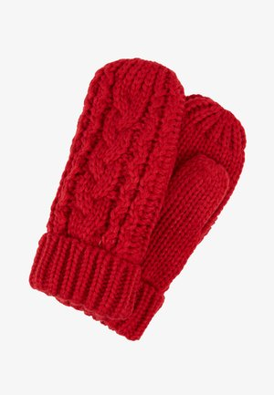 TODDLER GIRL CABLE - Mittens - modern red