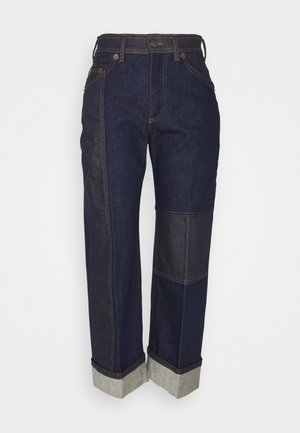 TWO TONE WIDE TUBE LEG JEANS WITH HIGH TURN UP CUFF - Relaxed fit -farkut - dark indigo/indigo