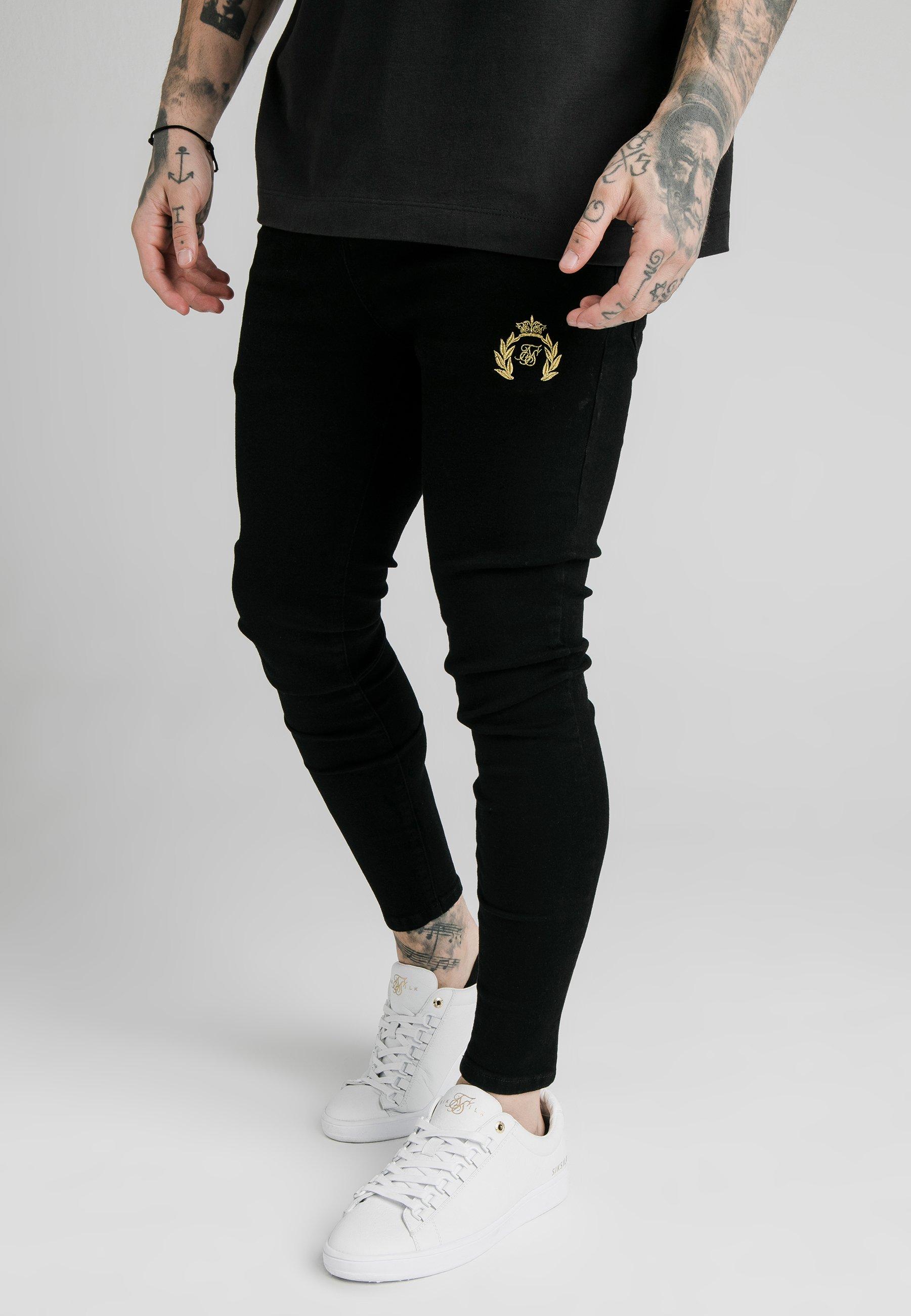 Classique Vêtements homme SIKSILK DISTRESSED PRESTIGE SKINNY  Jeans Skinny black i18gv9us