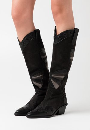 HOLLY KNEE HIGH BUTTERFLY - Cowboy- / Bikerboots - black