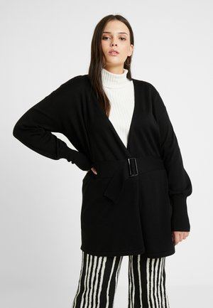 BELTED BUCKLE WRAP - Cardigan - black