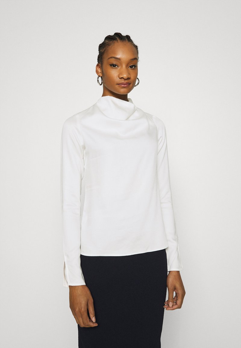 Who What Wear - COWL NECK LONG SLEEVE TOP - Blouse - cream