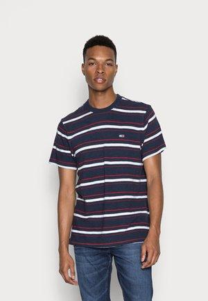 SLUB STRIPE TEE - T-shirt print - twilight navy