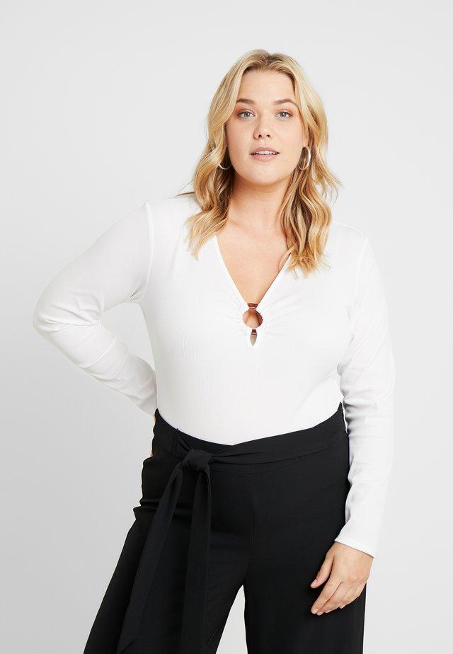 TOROISE SHELL HOOP DETAIL - Long sleeved top - cream