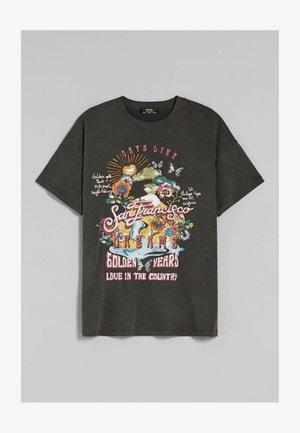 SAN FRANCISCO - Print T-shirt - mottled black