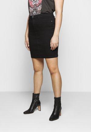 CARTHUNDER PENCIL SKIRT - Denim skirt - black