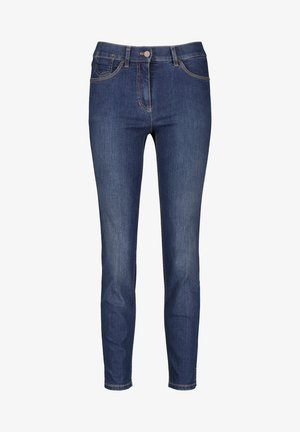 VERKÜRZT 5-POCKET BEST4ME CROPPED - Jeans slim fit - dark blue denim mit use
