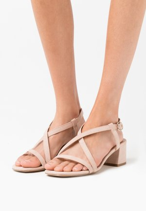 WIDE FIT RULIE MULTI STRAP BLOCK HEEL  - Sandály - oatmeal