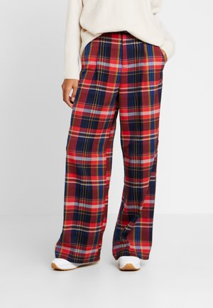 WIDE LEG - Trousers - red