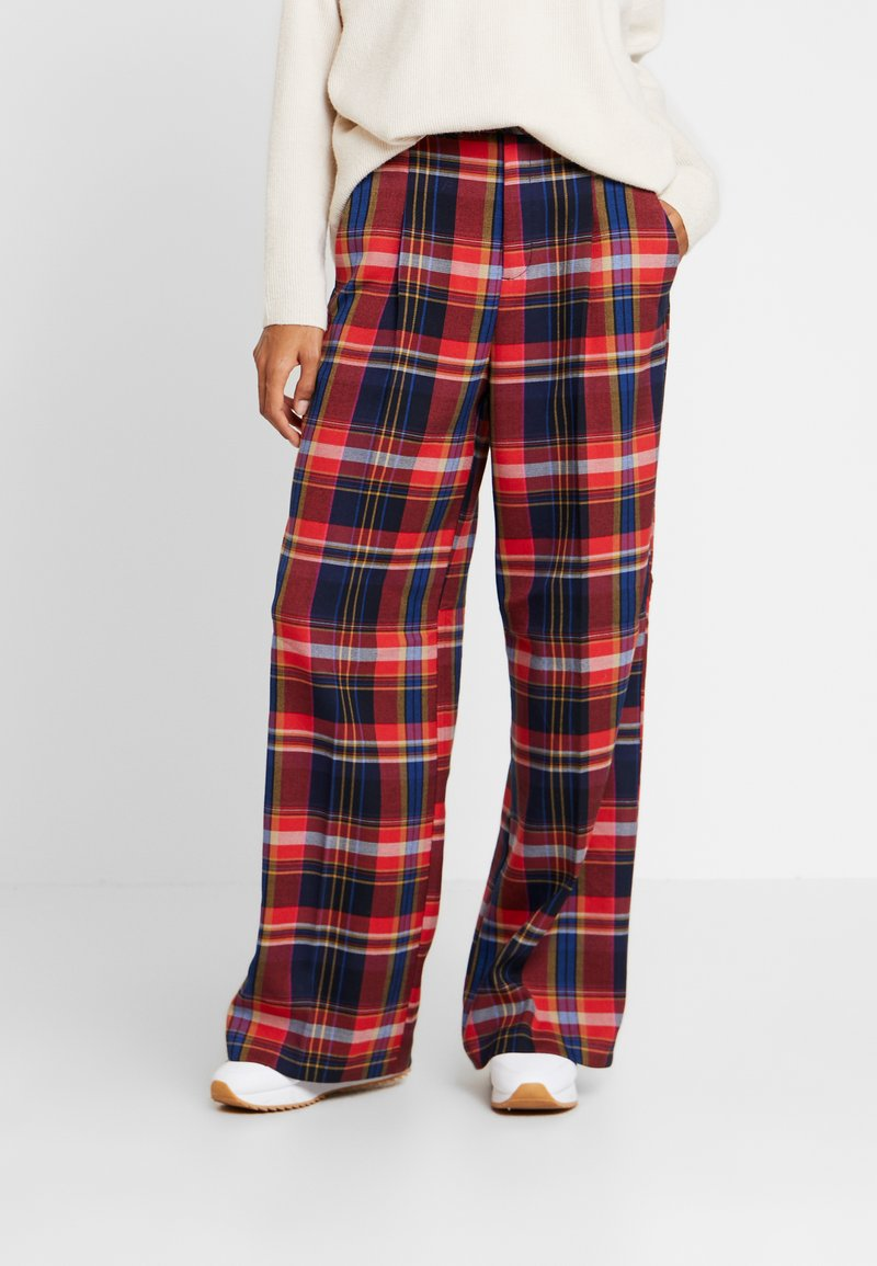 s.Oliver - WIDE LEG - Trousers - red