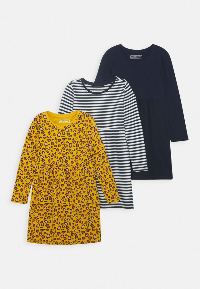 3 PACK - Robe en jersey - ochre/white/turquoise