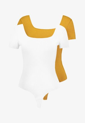 SQUARE NECK BODY 2 PACK - Basic T-shirt - white/yellow